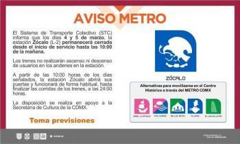Jueves 4 y Viernes 5 de marzo cerrará estación Zócalo hasta las 10:00 horas: STC Metro