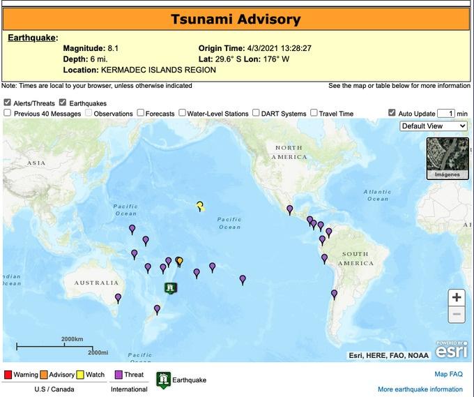 En Nueva Zelanda se registra un nuevo Terremoto de 8.1 grados, alertan de un posible tsunami