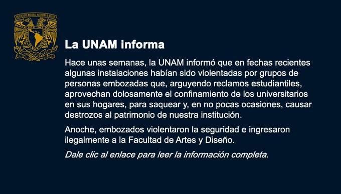 Denuncia UNAM toma violenta de instalaciones de la Facultad de Artes y Diseño