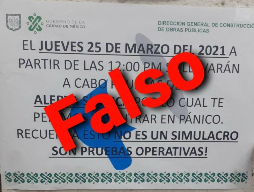 Fake News, supuesta prueba de Alerta Sísmica este 25 de marzo en la CDMX
