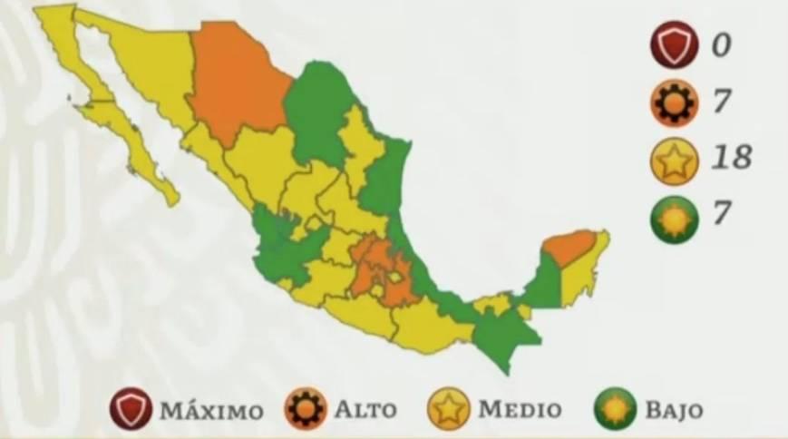 Salud reporta siete estados en semáforo color verde por COVID-19