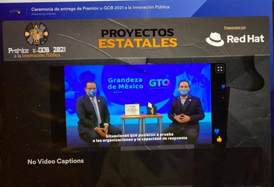 """Recibe Gobierno de Guanajuato Premio """"u-GOB 2021 a la Innovación en Salud"""""""