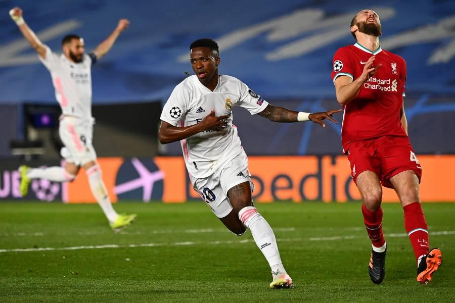 Vinicius pone en jaque al Liverpool y el Real Madrid acaricia las semifinales