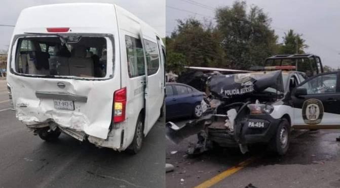 Veracruz: Patrulla choca a camioneta con personal del IMSS, hay cuatro heridos