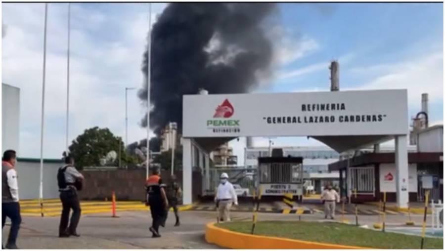 Se registra incendio en refinería de Pemex Lázaro Cárdenas en Minatitlán