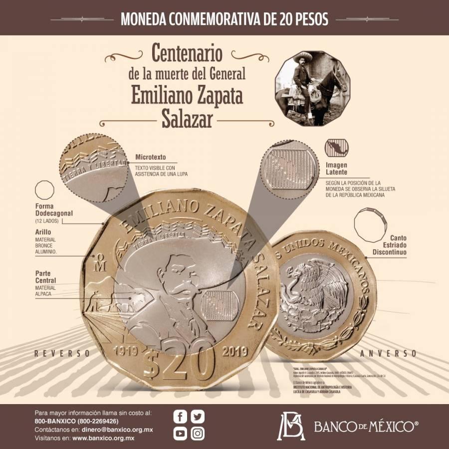 Banco de México pone en circulación moneda de 20 pesos conmemorativa del centenario de muerte de Emiliano Zapata
