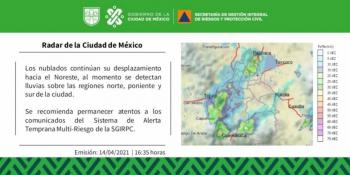 Se presentan lluvias en 12 alcaldías de la CDMX