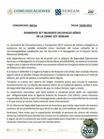 Sin reporte oficial sobre incidente en espacio aéreo de la CDMX: SCT-SENEAM