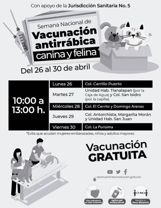 Semana Nacional de Vacunación Antirrábica en San Martín Texmelucan, Puebla