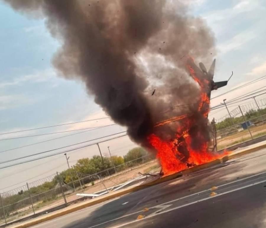 Reportan un muerto en desplome de helicóptero en Apodaca, NL