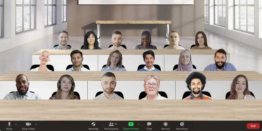 Vista inmersiva de Zoom permite ver a los participantes de una videollamada en una misma sala
