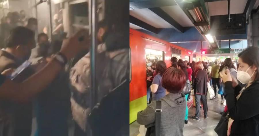 Falla tren del Metro de la Linea 8; usuarios caminan sobre las vías