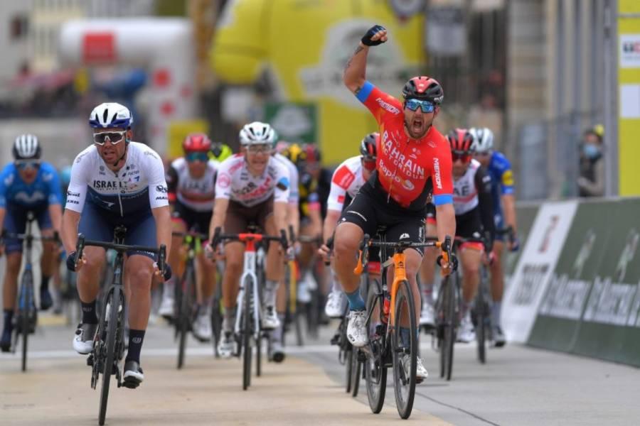 Sonny Colbrelli consiguió su primer triunfo en la segunda etapa de la Vuelta a Romandía