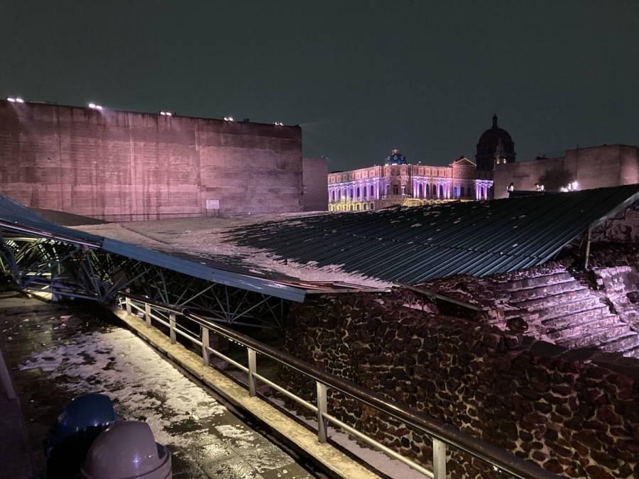 Colapsa estructura sobre Templo Mayor por granizo; descartan daño grave