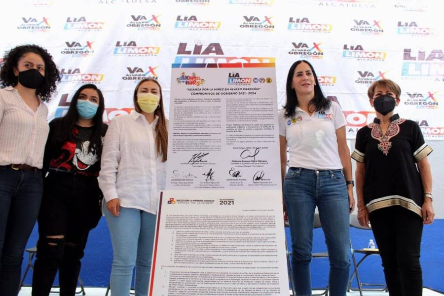 Lía Limón suscribe Alianza por la niñez en Álvaro Obregón