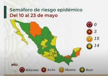 Salud reporta 15 estados en semáforo amarillo y 14 en verde