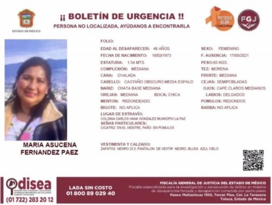 Alerta Odisea por María Asucena Fernández, vista en colonia Carlos Hank González, La Paz