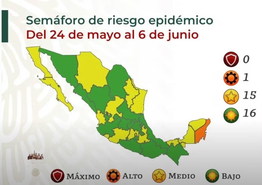 Salud reporta 16 estados en semáforo verde; Quintana Roo en naranja