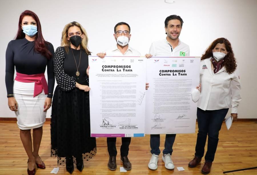 Víctor Hugo Romo se compromete a erradicar la trata de personas en MH