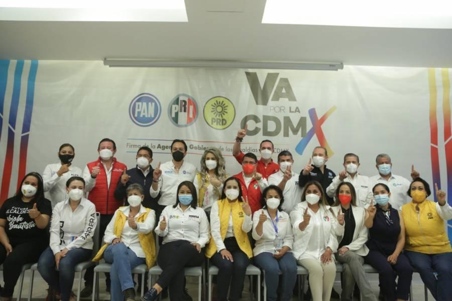 Firman candidatos de la Alianza 8 compromisos para gobiernos en Ciudad de México