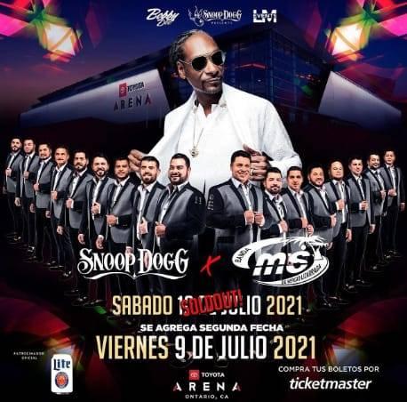 Abarrota Banda MS concierto con Snoop Dogg en Ontario