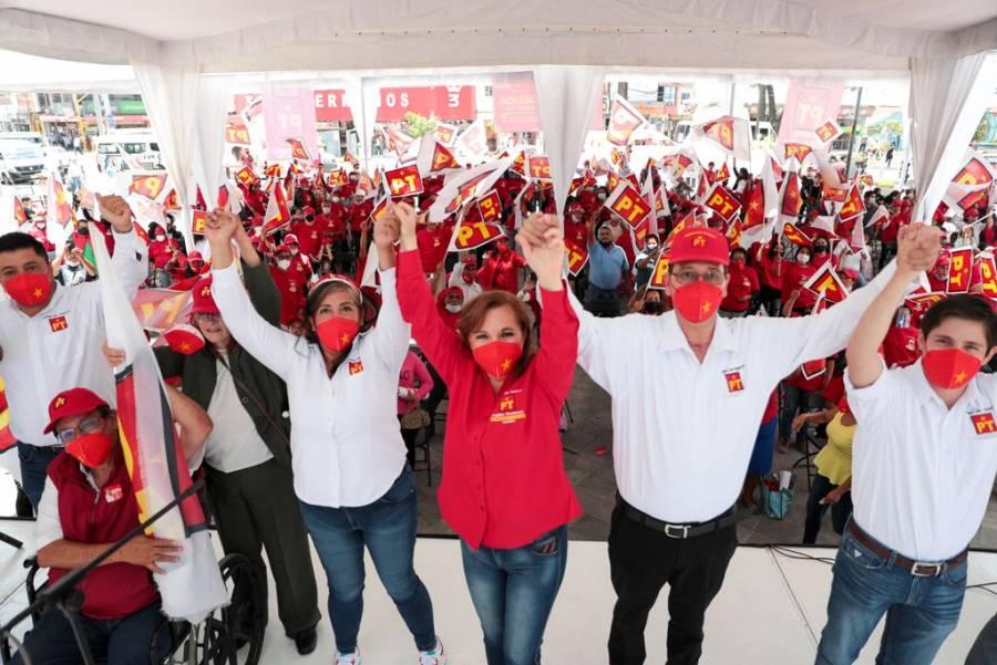 Angélica Rivadeneyra, candidata del PT en Naucalpan, realiza cierre de campaña