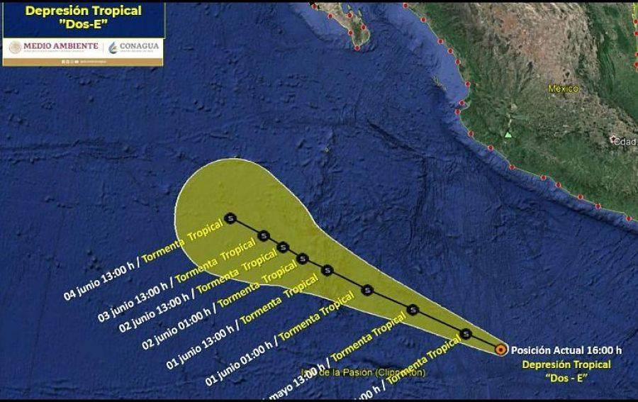 """Depresión tropical """"Dos-E"""" se intensificará a tormenta tropical Blanca: SMN"""
