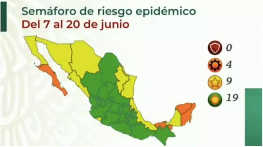 Salud reporta 19 estados en semáforo verde y cuatro en naranja
