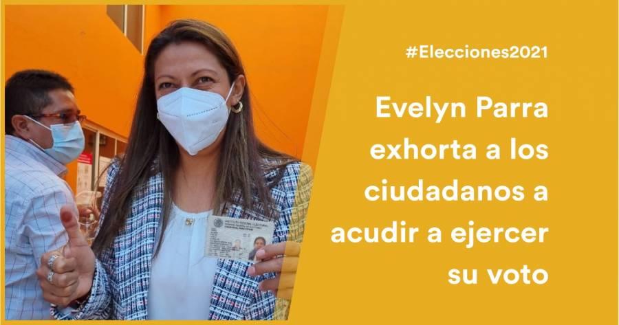 Evelyn Parra vota en Venustiano Carranza, pide a la ciudadanía ejercer su voto
