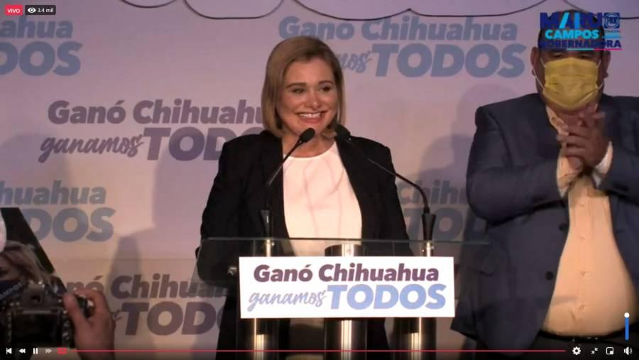 En Chihuahua, Maru Campos dice haber ganado gubernatura