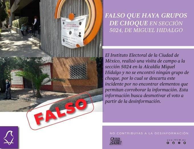 IECM descarta que haya grupos de choque en casilla electoral de alcaldía Miguel Hidalgo