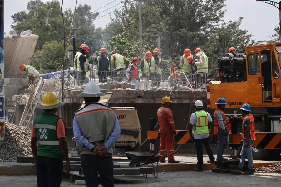 Continúa la toma de muestras en puntos de la trabe metálica colapsada en Línea 12 del Metro