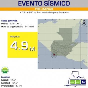 Se registra al suroeste de Guatemala un sismo de 4.9 grados