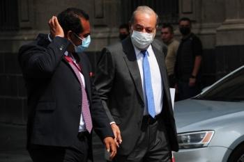 AMLO se reúne con Claudia Sheinbaum y Carlos Slim en Palacio Nacional