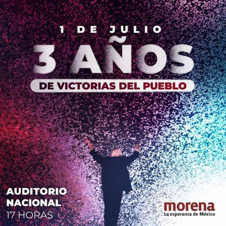 A 3 años de la victoria de AMLO, Morena festejará en el Auditorio Nacional