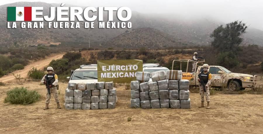 En Baja California, el Ejército asegura más de 800 kilogramos de droga