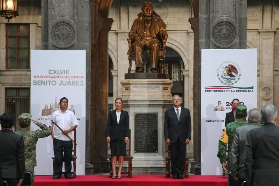 AMLO rinde honores a Benito Juárez en su 149 aniversario luctuoso