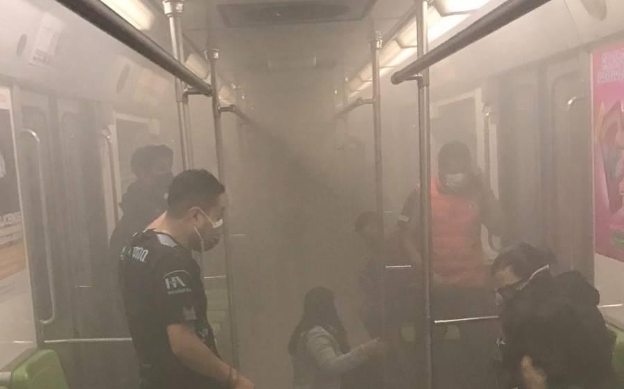 VIDEO: Ponchadura de llanta provoca nubes de humo en la Línea 3 del Metro