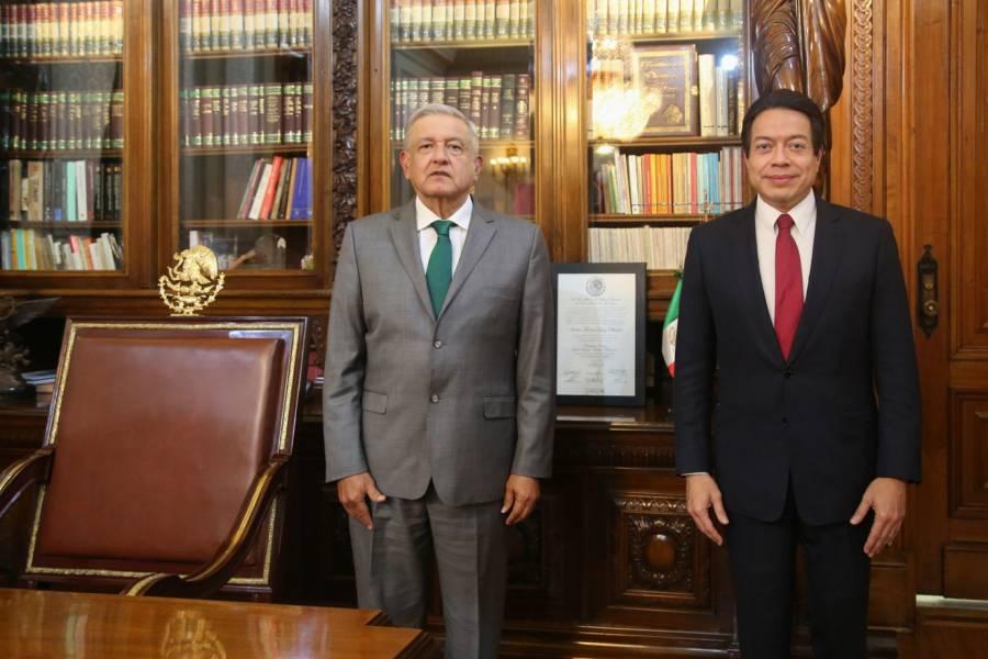 Confirma AMLO haberse reunido ayer con el líder de Morena, Mario Delgado