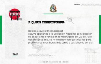 """El """"Tri"""" olímpico emite justificante laboral para aficionados desvelados"""