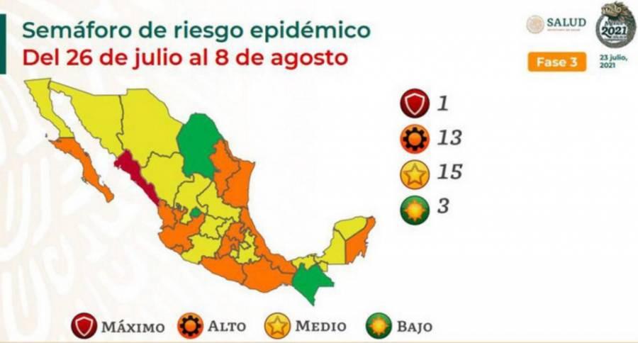 Así queda el semáforo Epidemiológico por estado