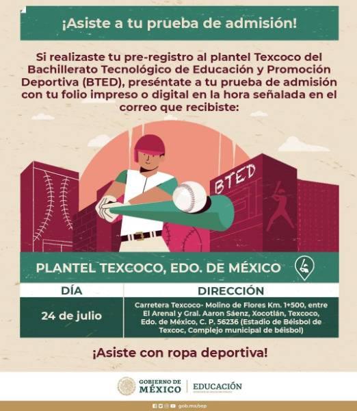En Texcoco, arrancan pruebas de admisión para Bachillerato Deportivo de la SEP