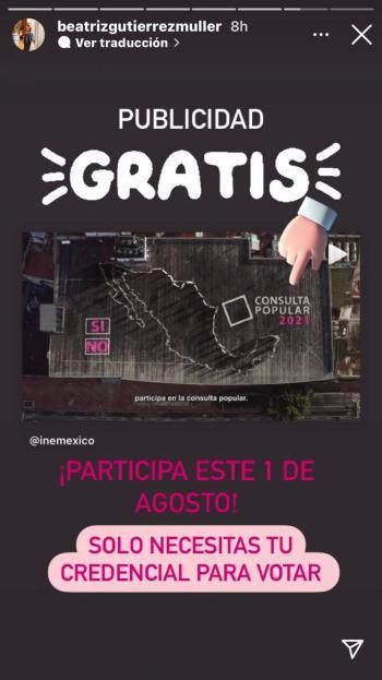 """Beatriz Gutiérrez promueve """"gratis"""" la consulta popular; """"¿gastos no reportados del INE?"""""""
