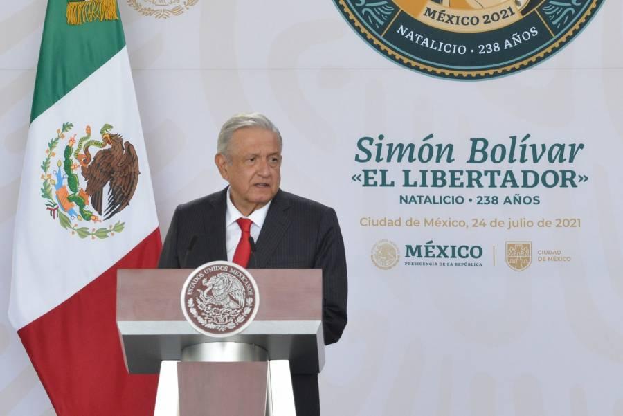 En el natalicio de Simón Bolivar, AMLO pide formar un bloque al estilo de la Unión Europea