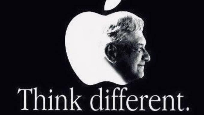 Morena edita logo de Apple y pone rostro de AMLO