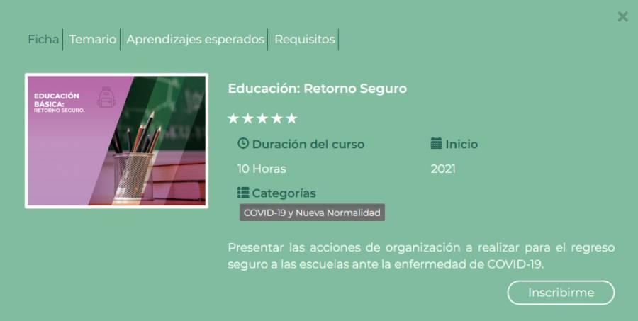 SEP: Inscripción al curso en línea Retorno Seguro ciclo escolar 2021-2022