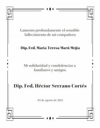 Lamento el sensible fallecimiento la Diputada federal María Teresa Marú Mejía
