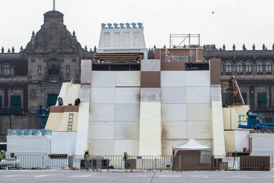 El viernes se inaugura el Huey Teocalli, la pirámide multicolor del Zócalo