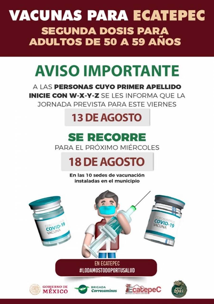 Cambia fecha de vacunación para personas de 50 a 59 años en el Ecatepec