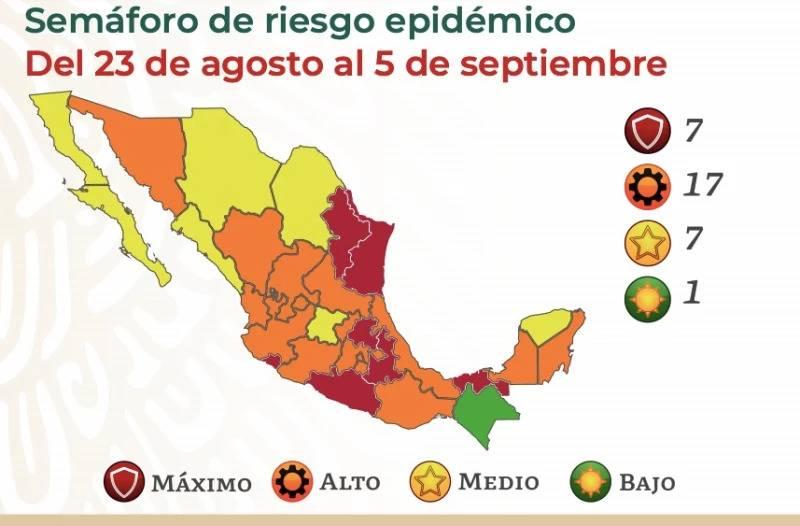 Así queda el semáforo epidemiológico en México